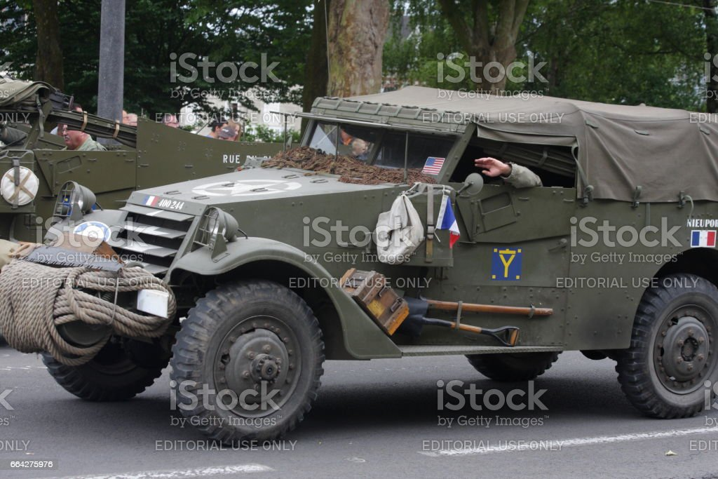 American military vehicle of the Second World War parading for  commemorating the French Revolution stock photo