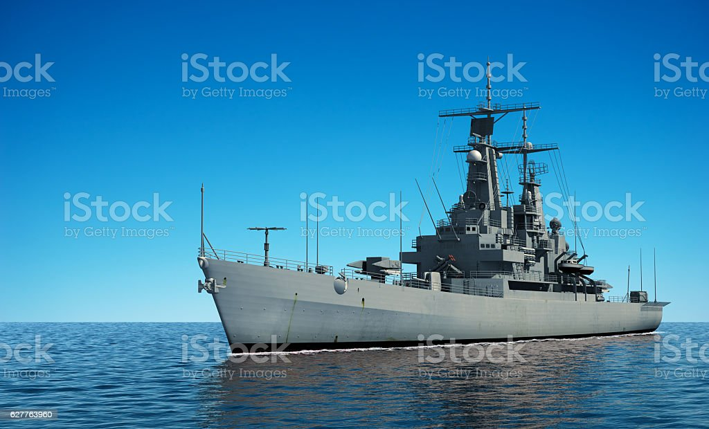 American Modern Warship In The Ocean stock photo