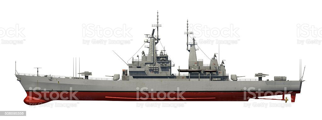 American Modern Warship Over White Background stock photo