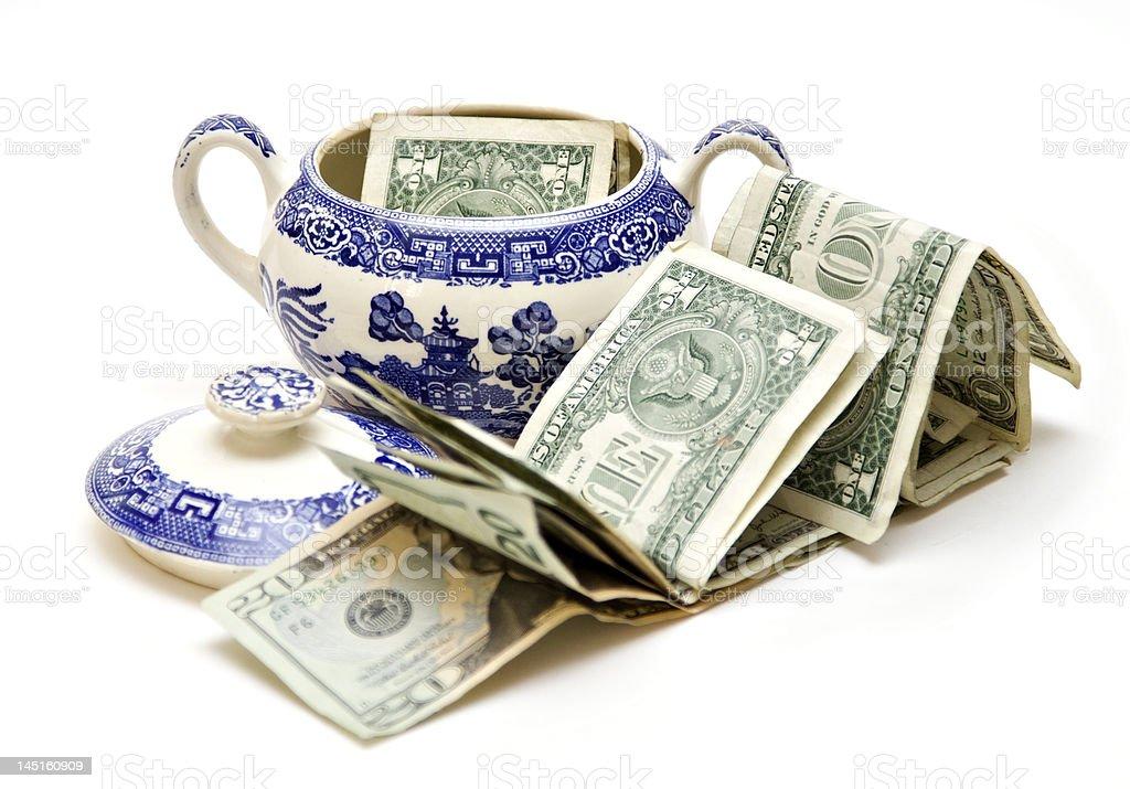 American Money in Sugar Bowl stock photo