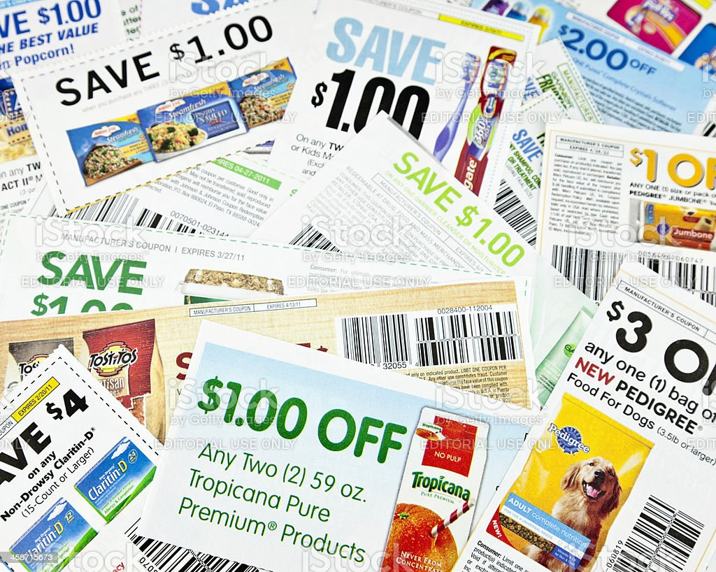 American Money-Saving Coupons stock photo