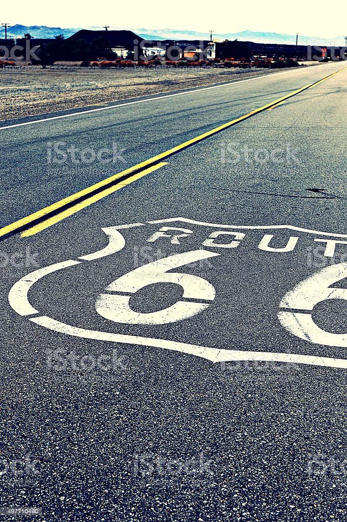 American mother road Route 66 of national highway historic road stock photo