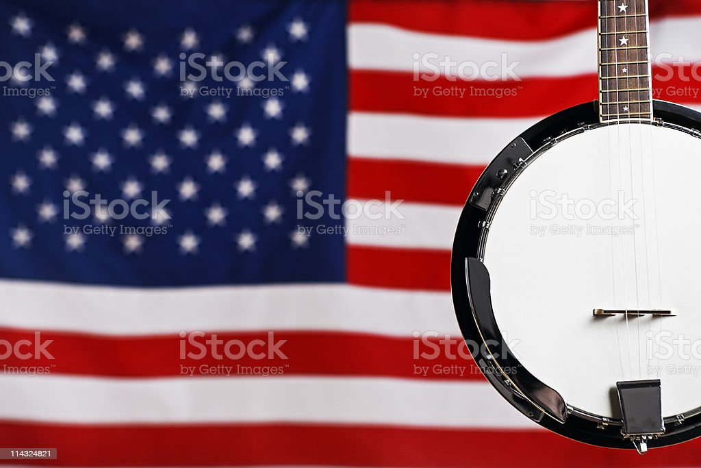 American music: banjo with US flag stock photo