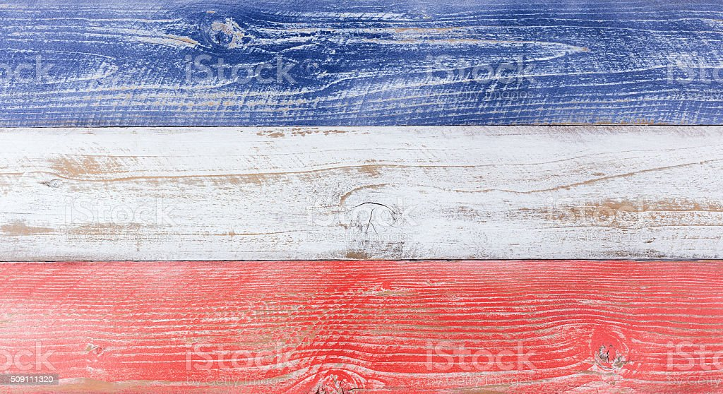 American national colors painted on fading wooden boards stock photo