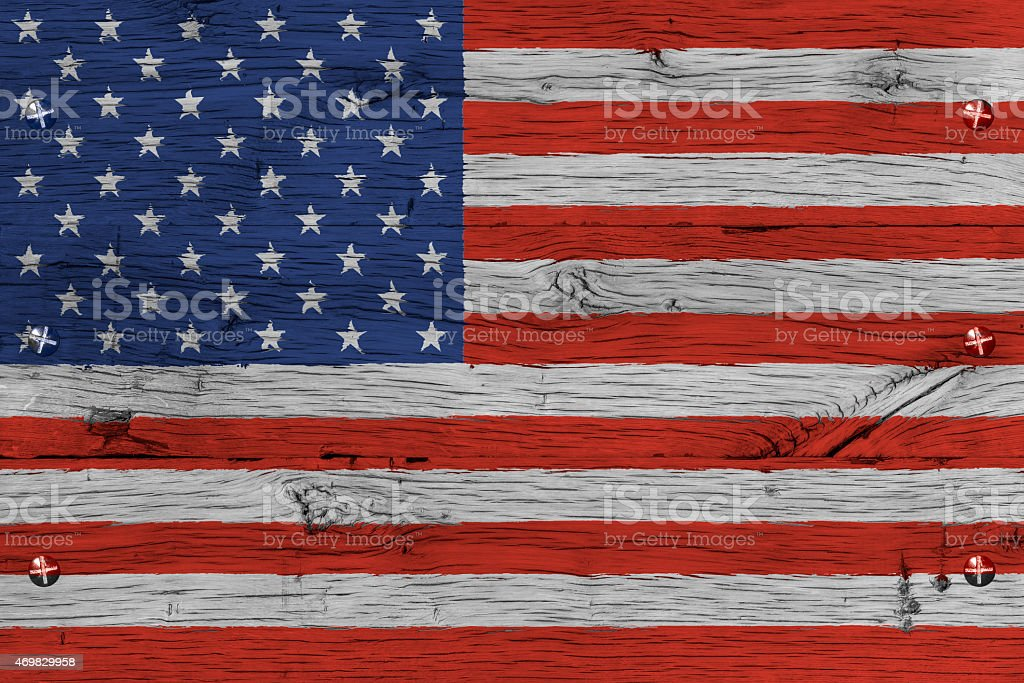 USA American national flag painted old oak wood fastened stock photo