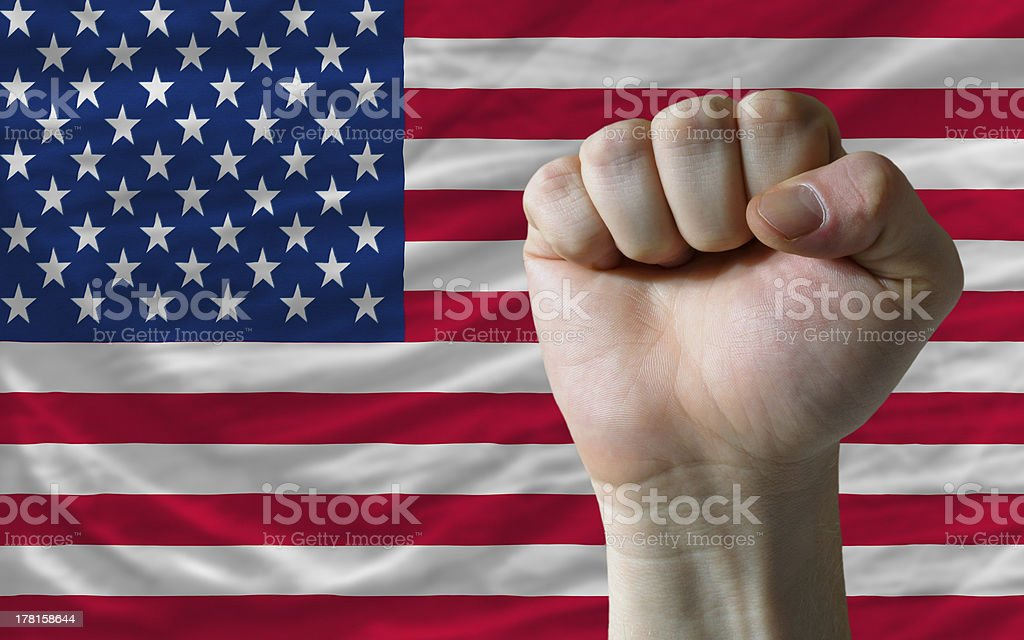 american national flag with hard fist royalty-free stock photo