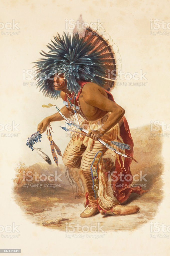 American native with headdress dancing engraving 1841 stock photo