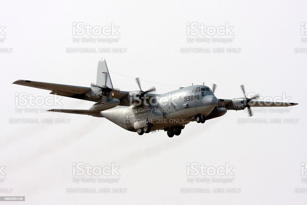 American Navy Hercules coming in for landing stock photo