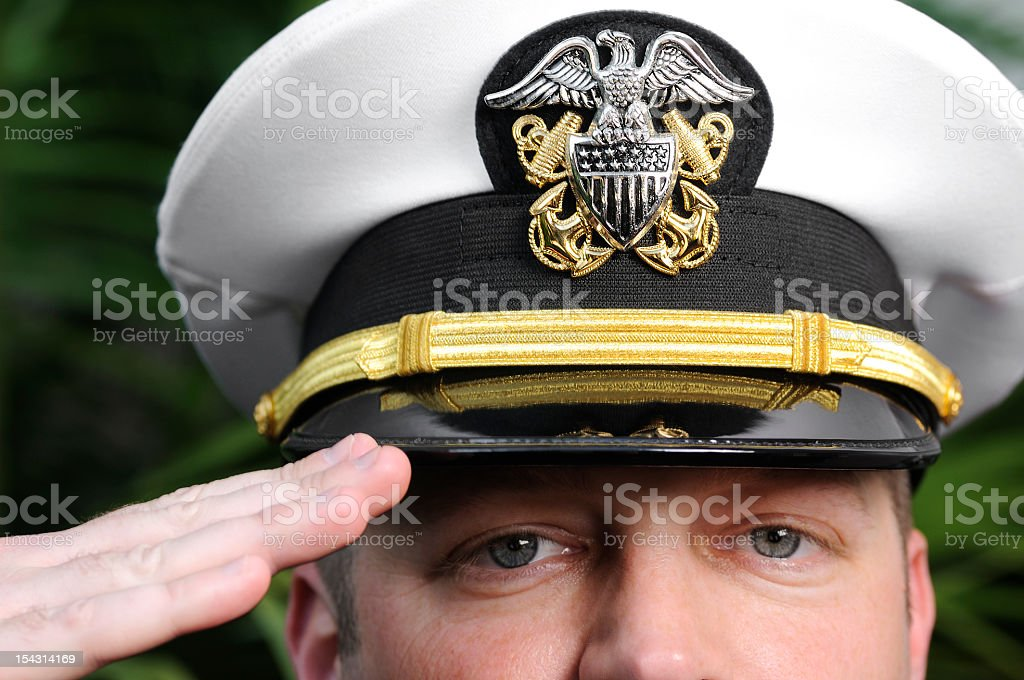 American Navy Officer Salutes with Pride & Strength stock photo