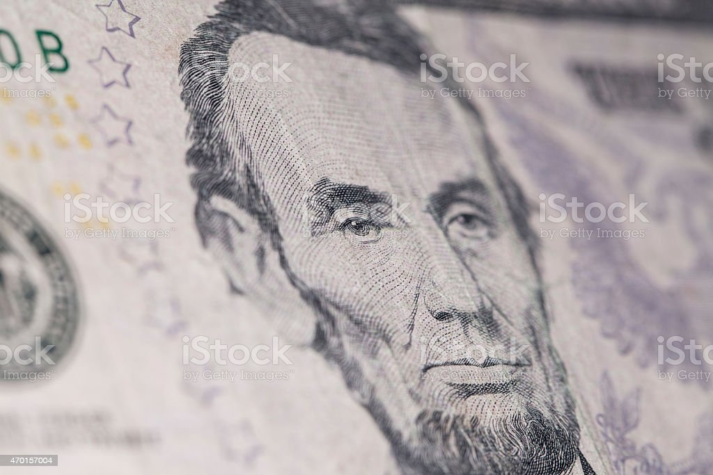American new five dollar banknote macro stock photo