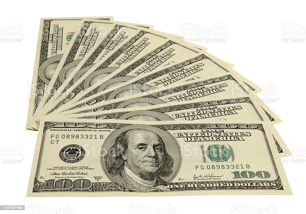 American One Hundred Dollar Bills Fanned, White Background, Clipping Path stock photo