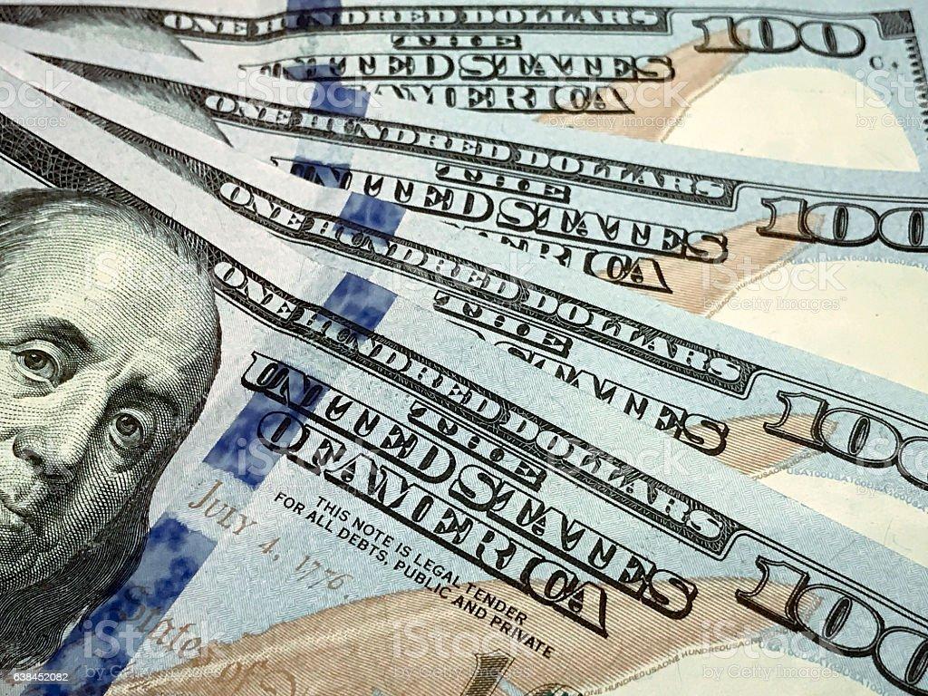American one hundred dollar bills stock photo