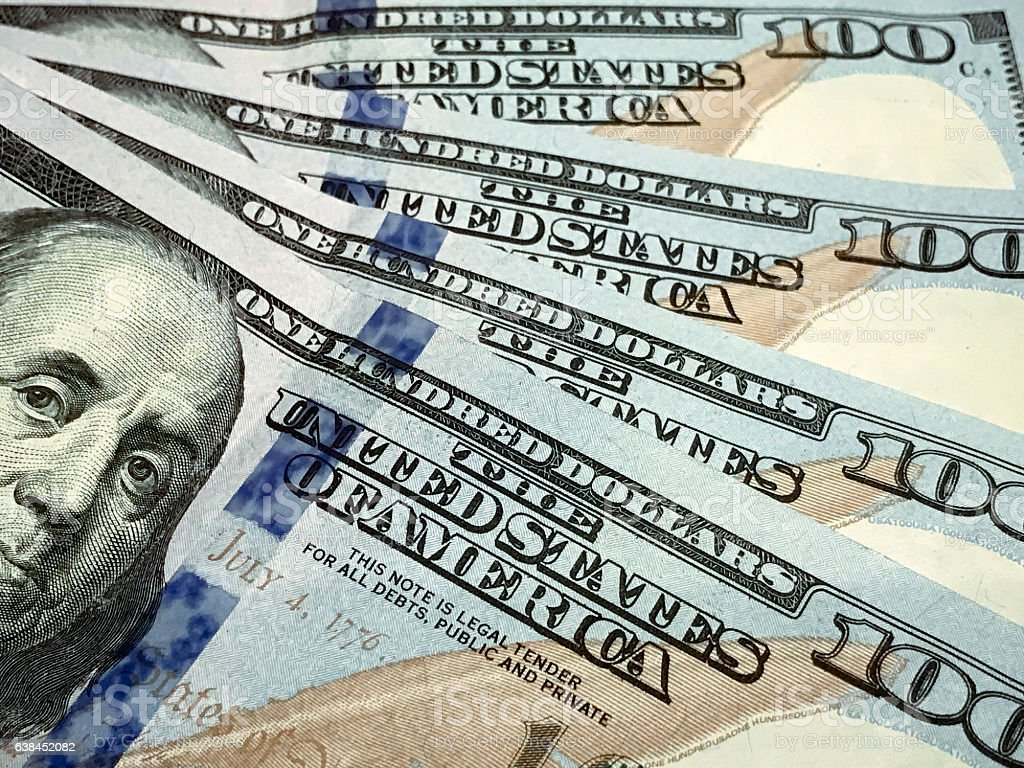 American one hundred dollar bills stock photo