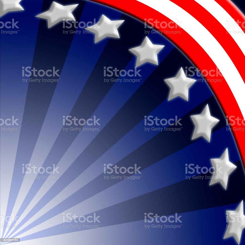 American oriented background, in the colors red, white and blue, white stars and blue, red and white stripes, suitable for all kind of American holidays, Labor Day, independence Day, etc. stock photo