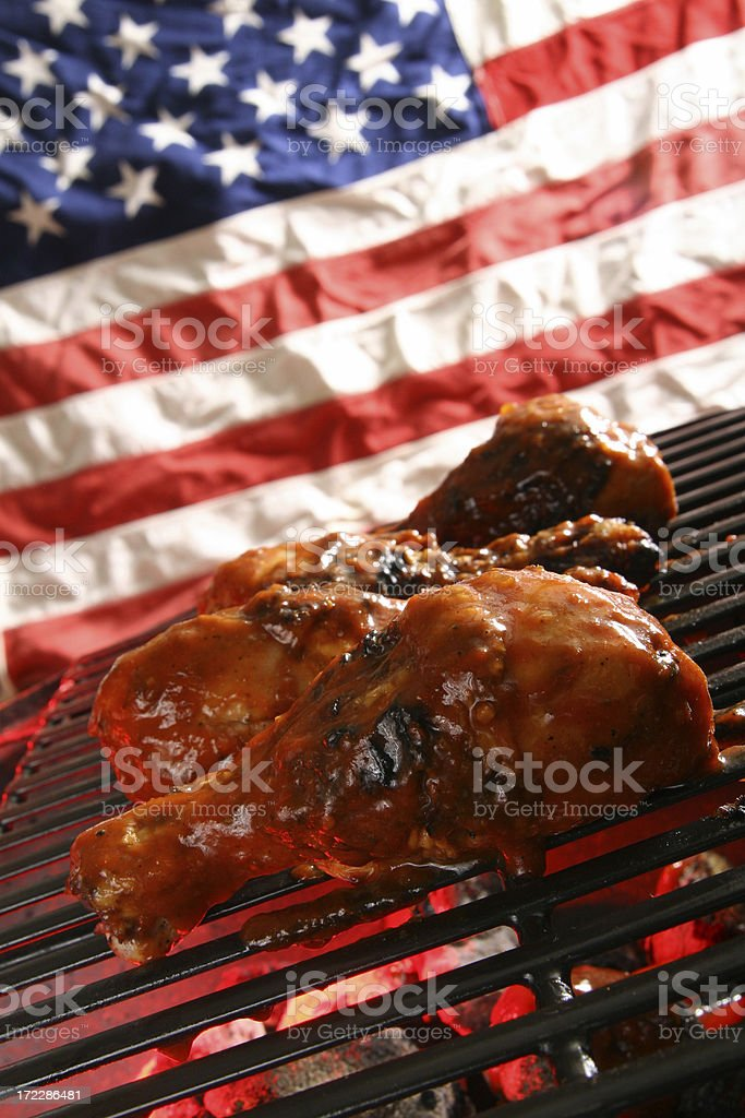 American Outdoor Cooking - Barbecue Chicken on Grill royalty-free stock photo