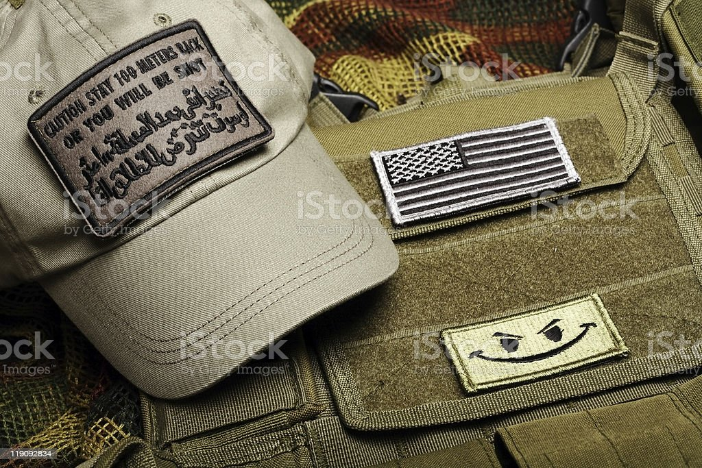 American paramilitary contractor equipment. stock photo