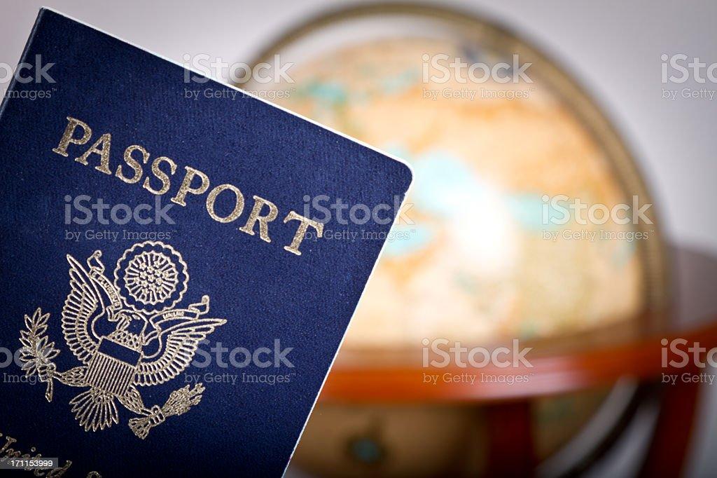American Passport and Globe stock photo