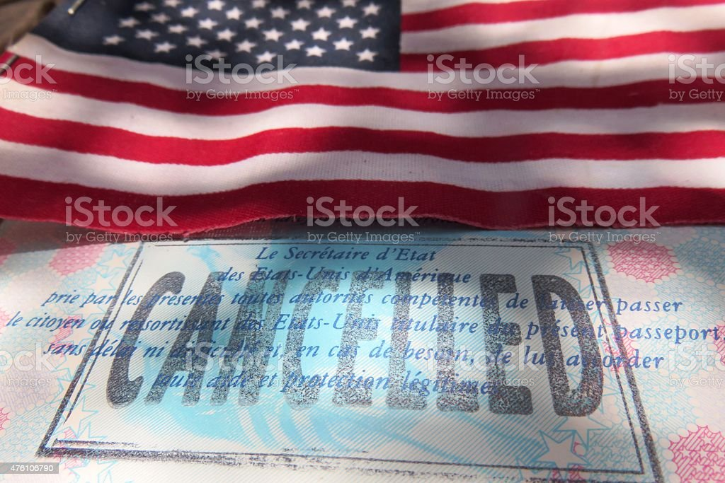 American passport canceled stock photo