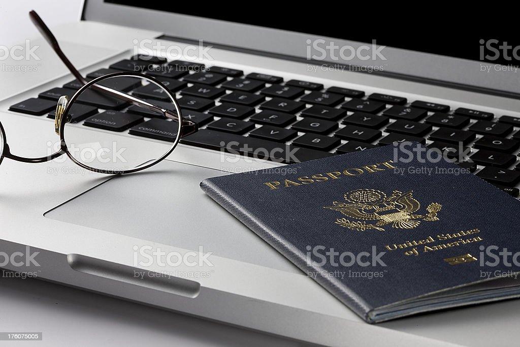 American passport on a Laptop. stock photo