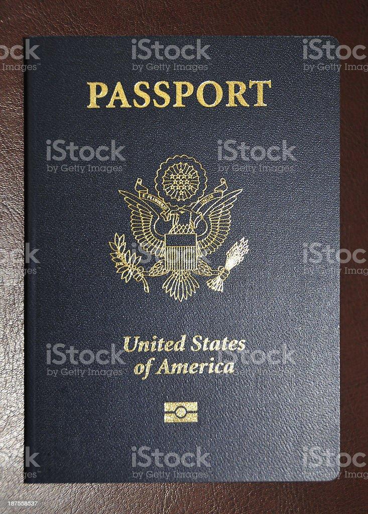 American passport with biometric data in microchip stock photo