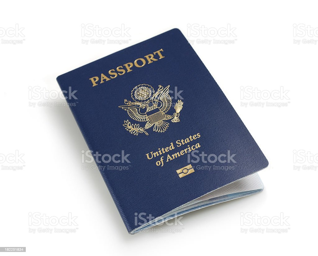 American Passport with biometric data stock photo