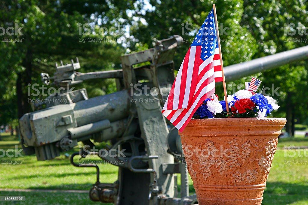 American Patriotism - Flag and Gun stock photo