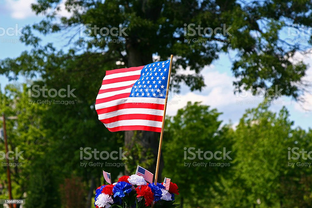 American Patriotism - Flag and Tree royalty-free stock photo