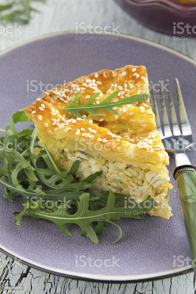 'American' pie with chicken and mushrooms. royalty-free stock photo