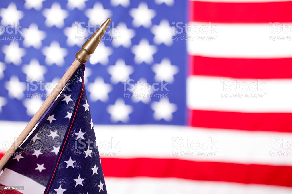 American political rally, election day with USA flags. stock photo