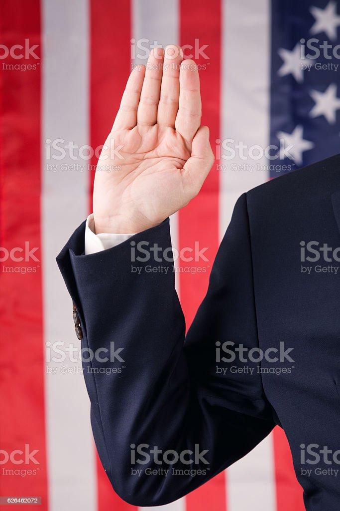 American Politician Taking An Oath stock photo