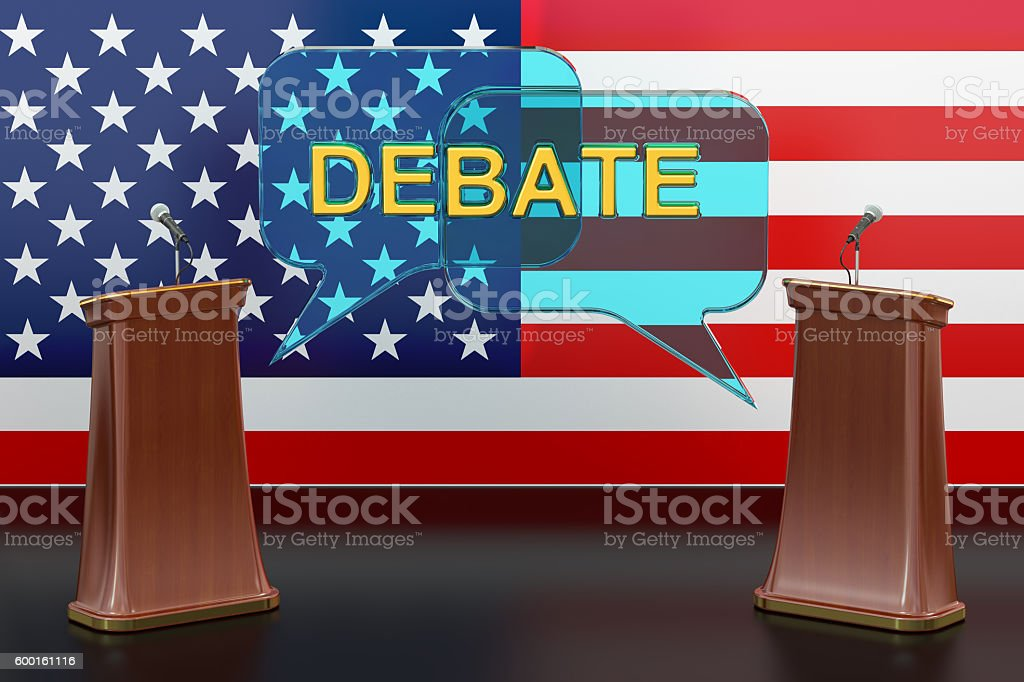 USA american presidential debate concept with microphones and tr stock photo
