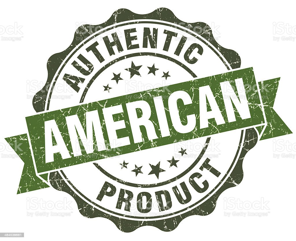 American product green grunge retro style isolated seal royalty-free stock photo