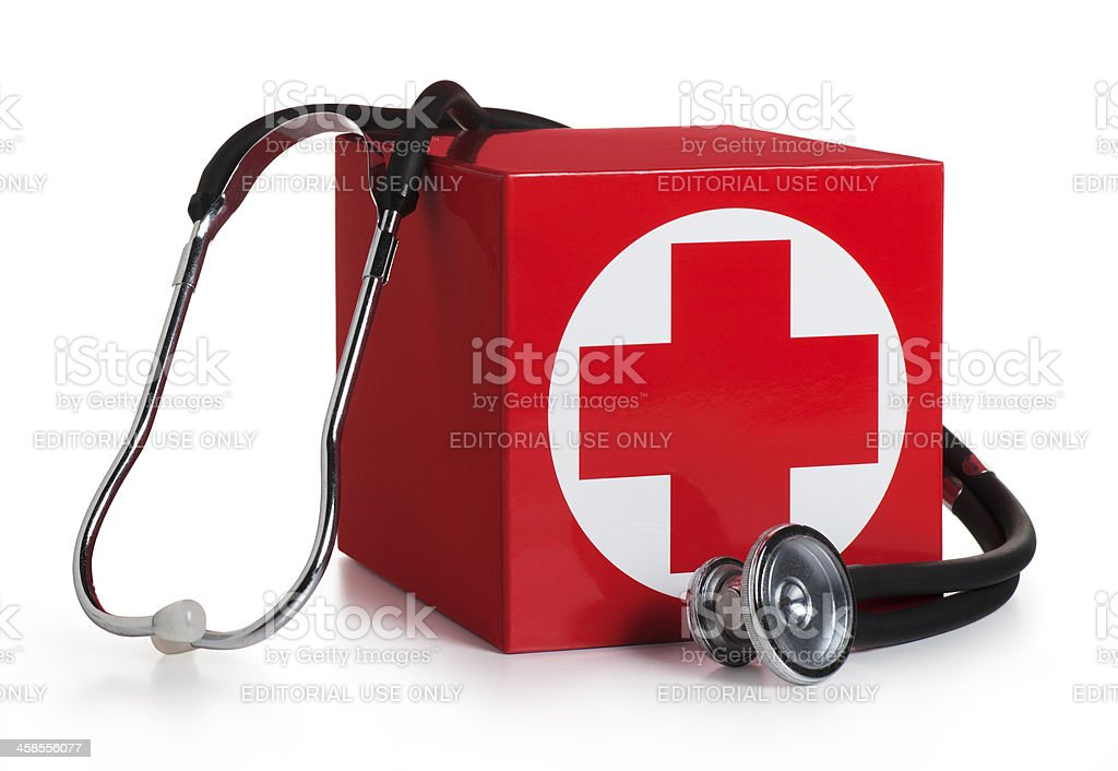 American Red Cross Box on White stock photo