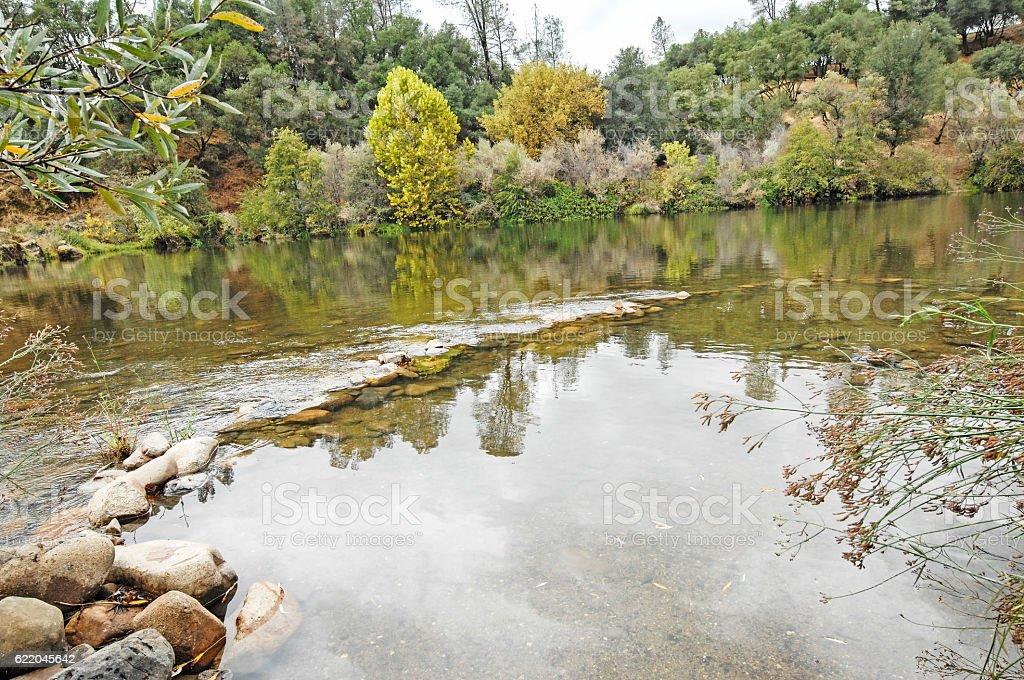 American River Fall Reflection stock photo