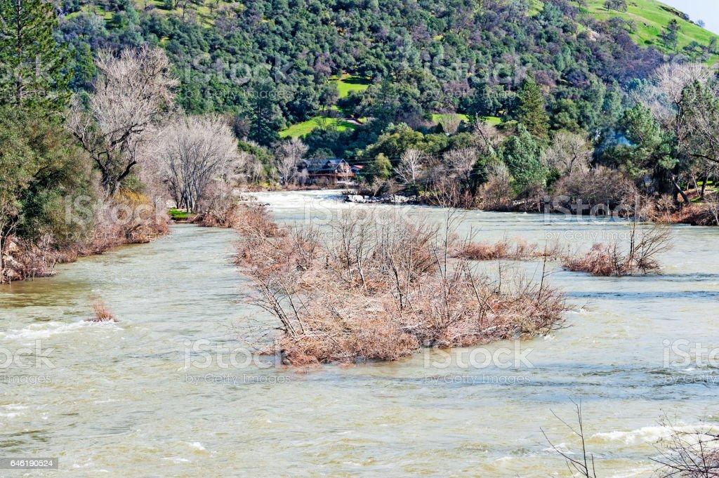 American River High Water in Coloma with Rapids stock photo