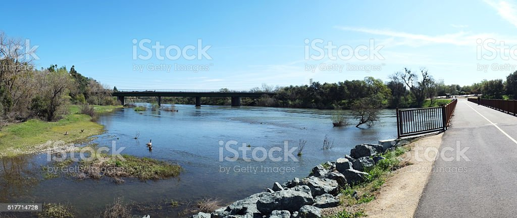 American River Panorama stock photo