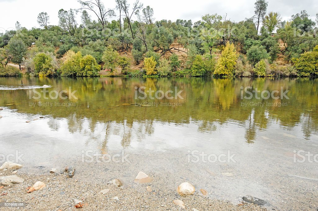 American River Still Water Reflection stock photo