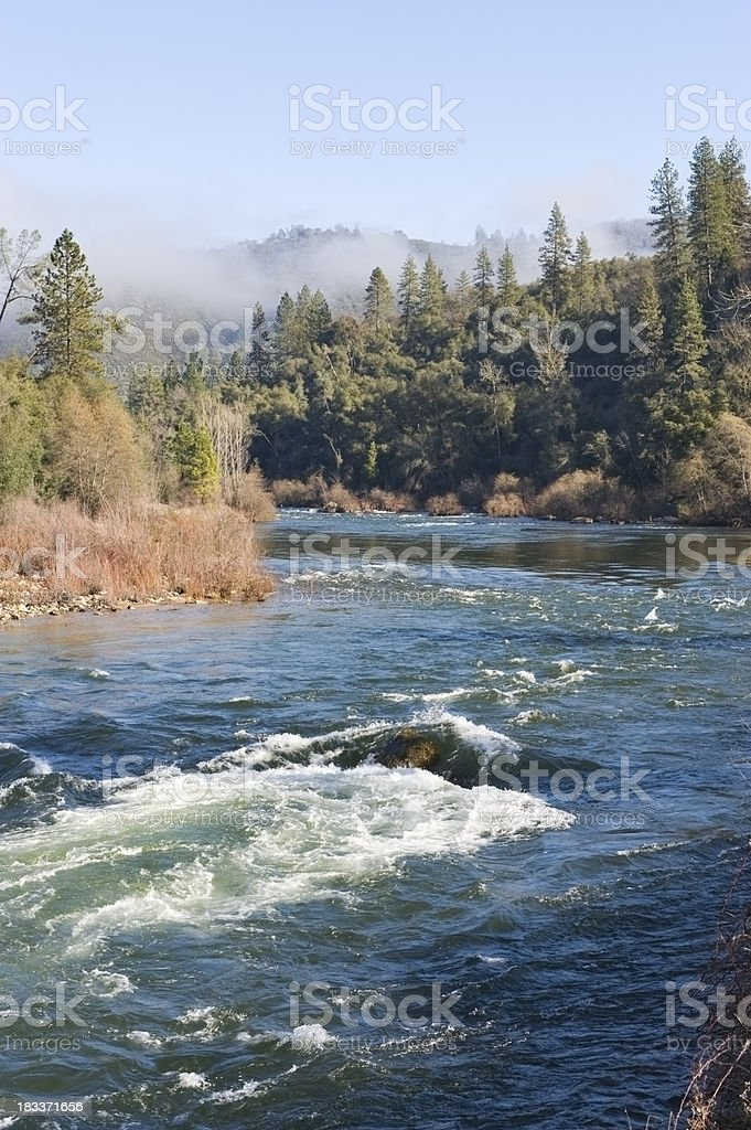 American River with Fog stock photo
