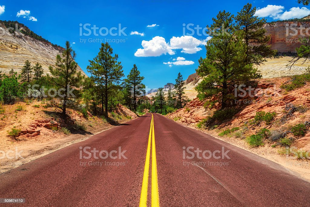 American road in Zion Canyon stock photo