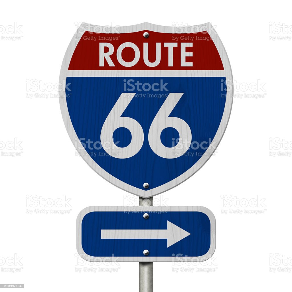 American Route 66 Highway Road Sign stock photo