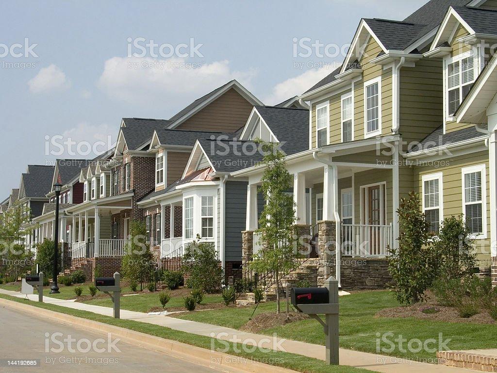 american row houses stock photo