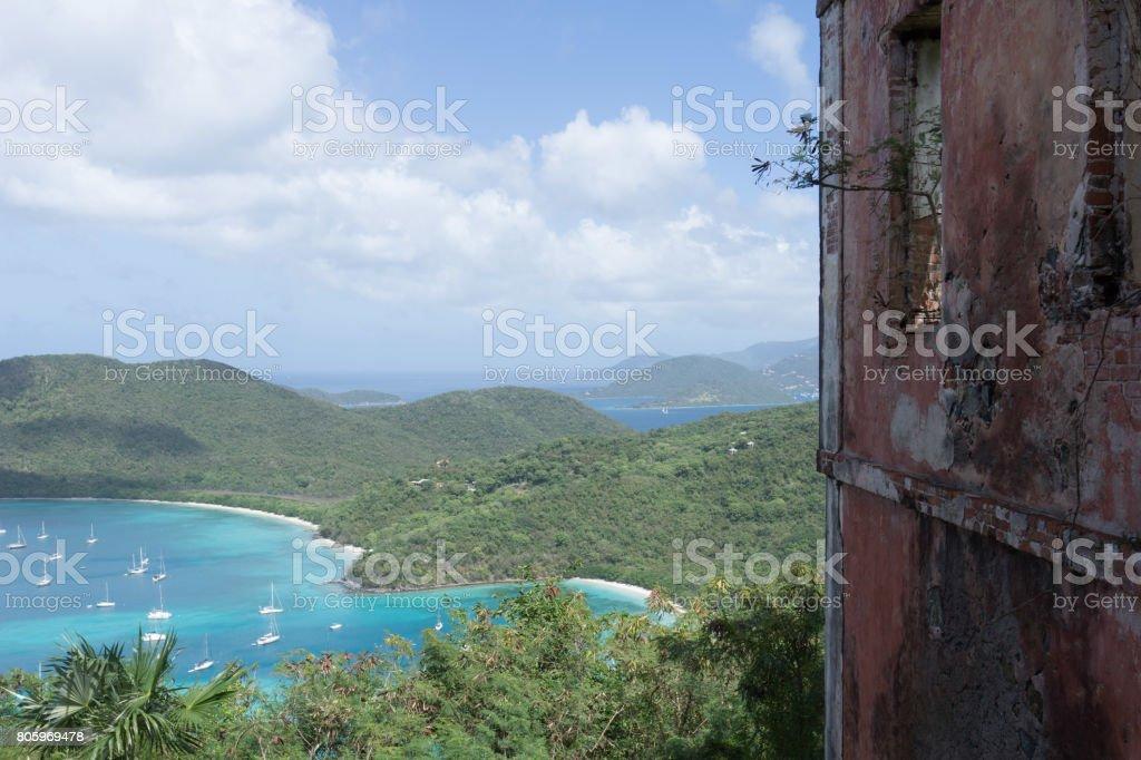 American Ruins with Maho Bay stock photo