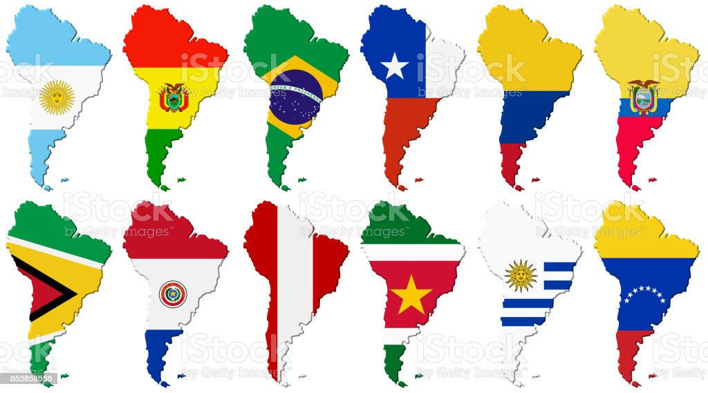 American set. Flags of the South America stock photo