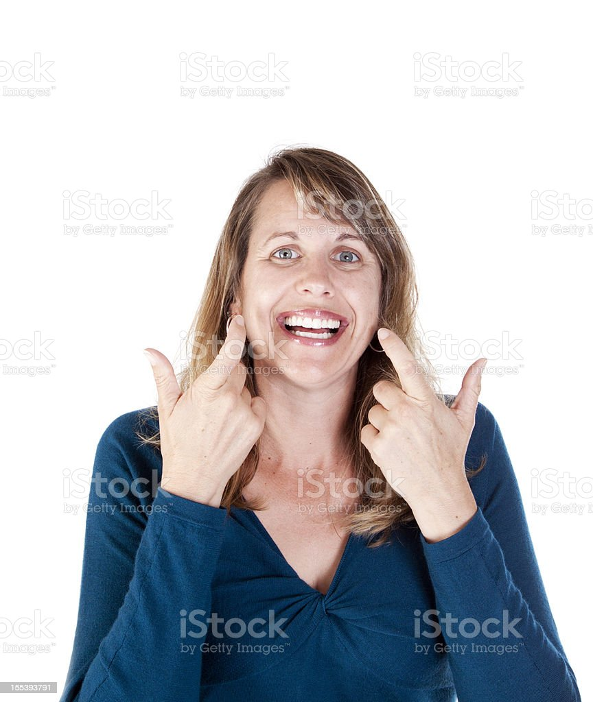 American Sign Language for LAUGH royalty-free stock photo