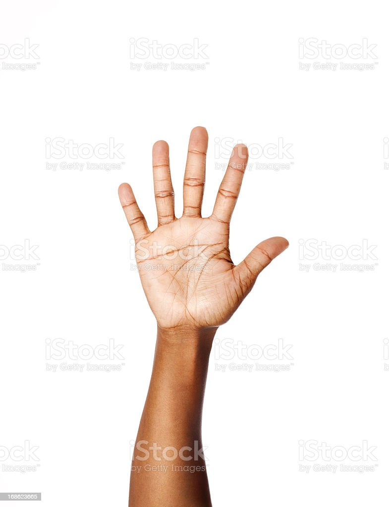 American Sign Language Number Five stock photo