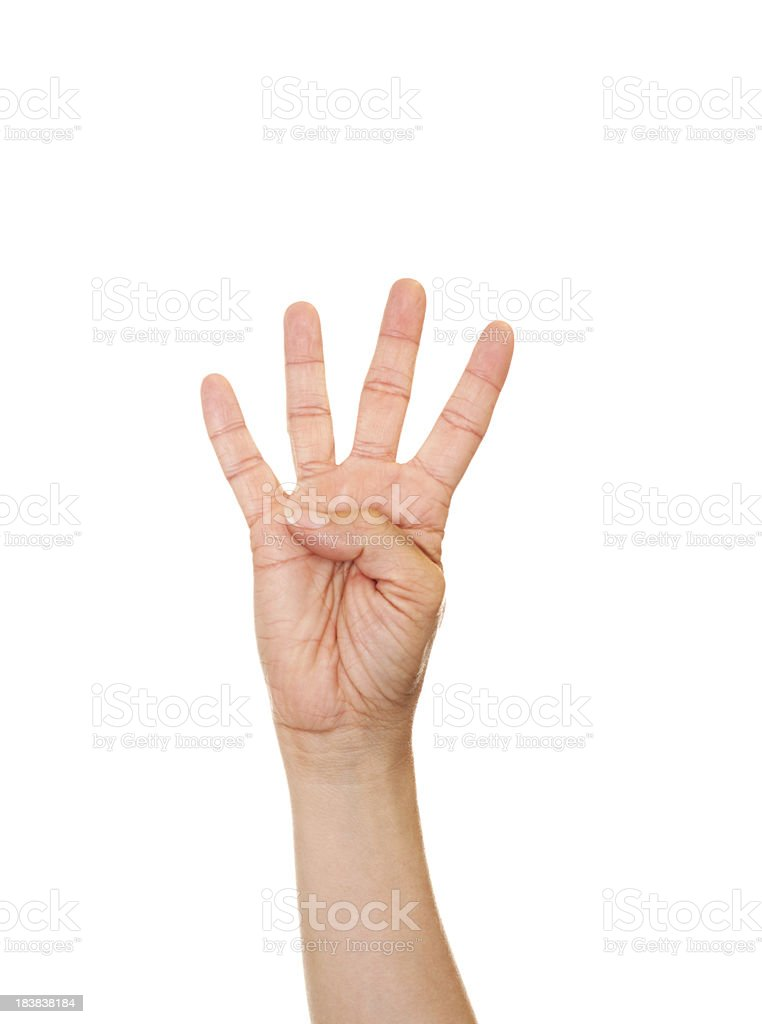 American Sign Language Number Four stock photo