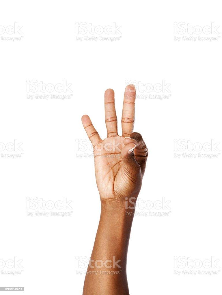 American Sign Language Number Nine stock photo