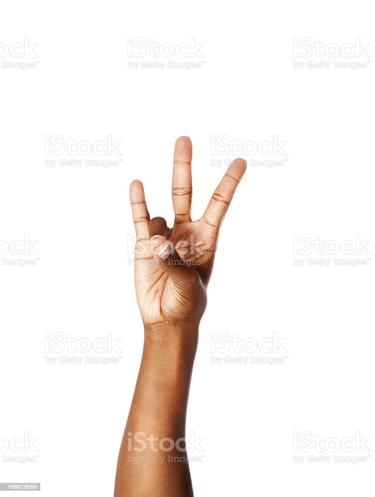 American Sign Language Number Seven stock photo
