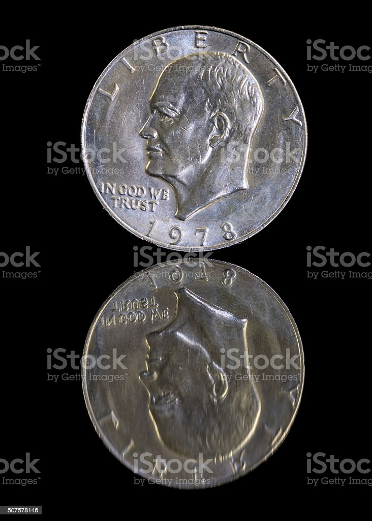 American silver dollar with reflection stock photo