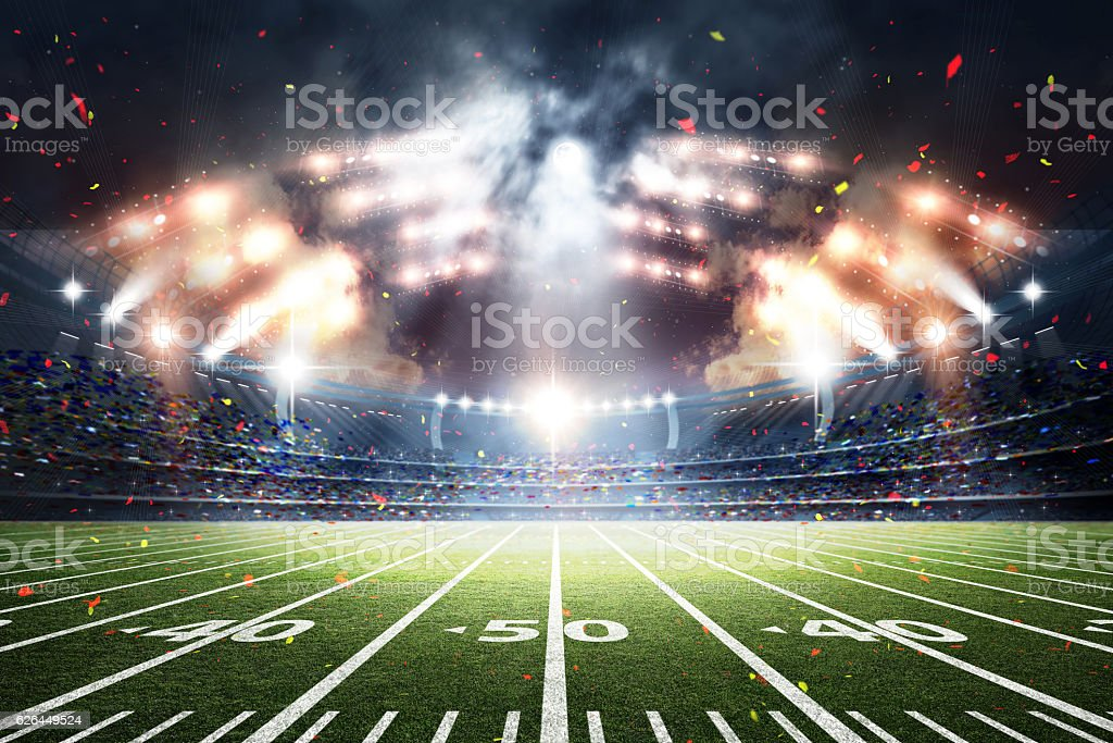 American Soccer Stadium, 3d rendering stock photo